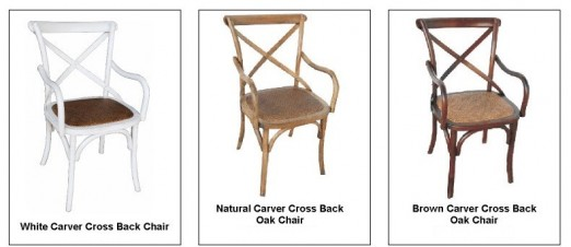Cross Back Carver Dining Chair