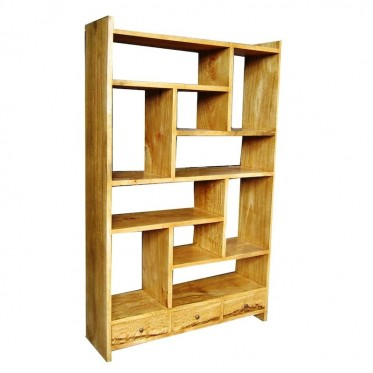 Fruitwood Wide Bookcase