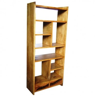 Fruitwood Narrow 2 Drawers Bookcase