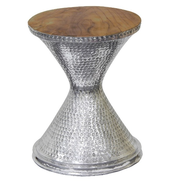 Aluminium Hourglass Stool With Teak Timber Top
