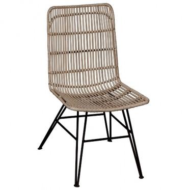 Rattan Dining Chair W/ Iron Legs
