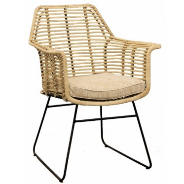 Classical Woven Rattan Chair W/ Iron Legs