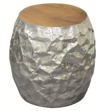 Aluminium Barel Stool W/ Recycled Teak Timber Top