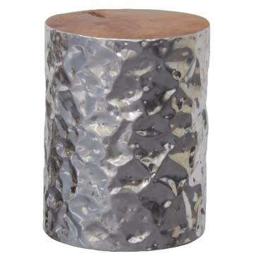 Aluminium Cylinder Stool W/ Recycled Teak Timber Top