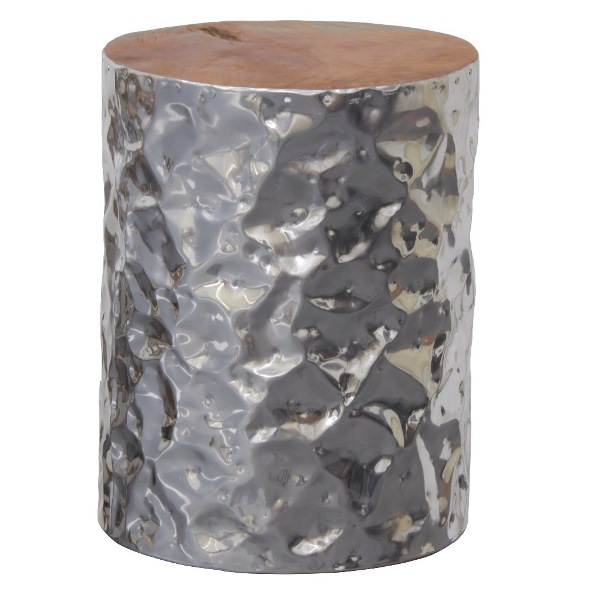 Aluminium Cylinder Stool W/ Recycled Teak Timber Top